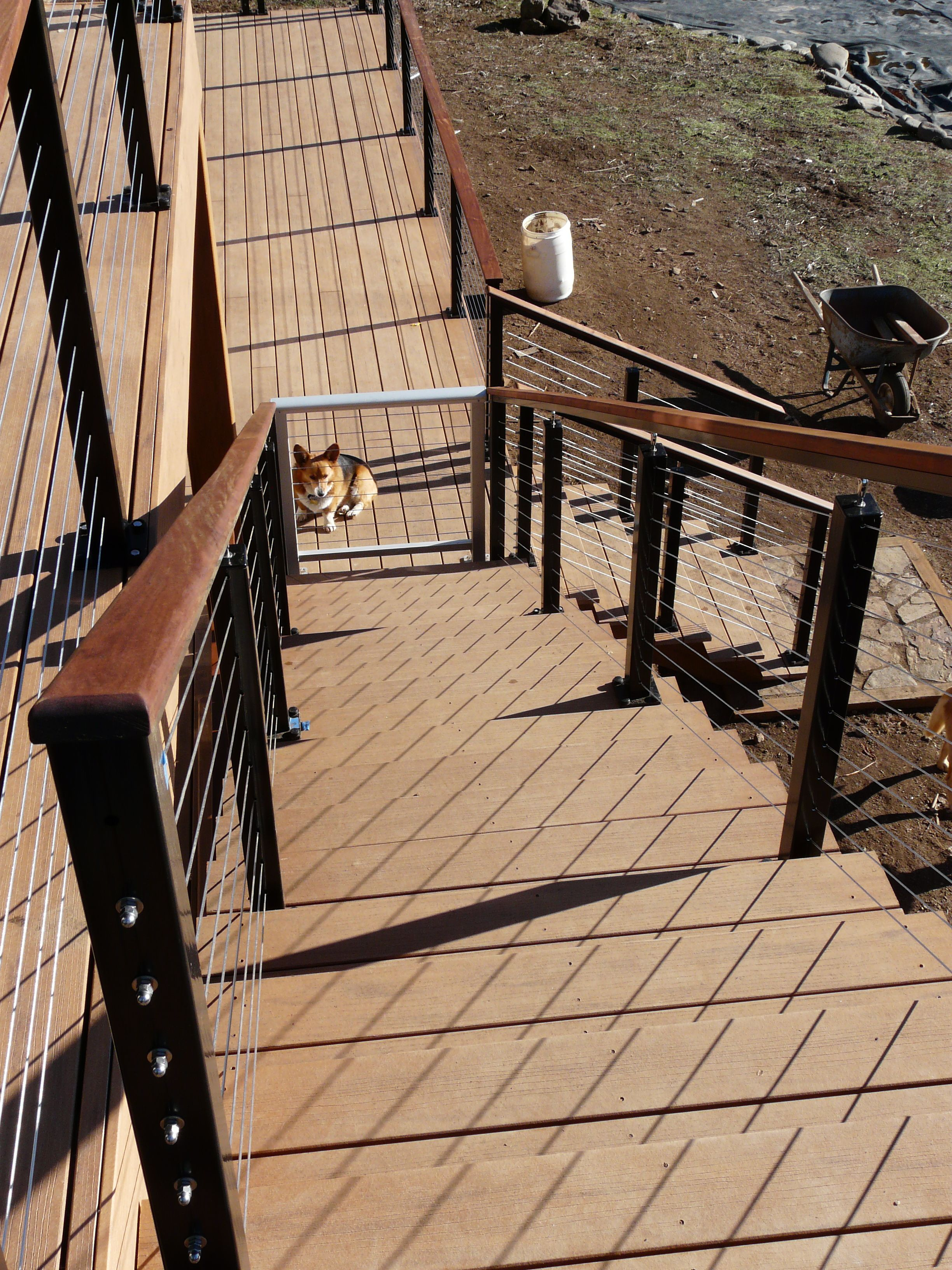 Black aluminum posts with wood top rail need deck railing ideas try our stainless cable railing with aluminum hand rails is the best choice whenever constructing any type of open air or indoor baanklon Images